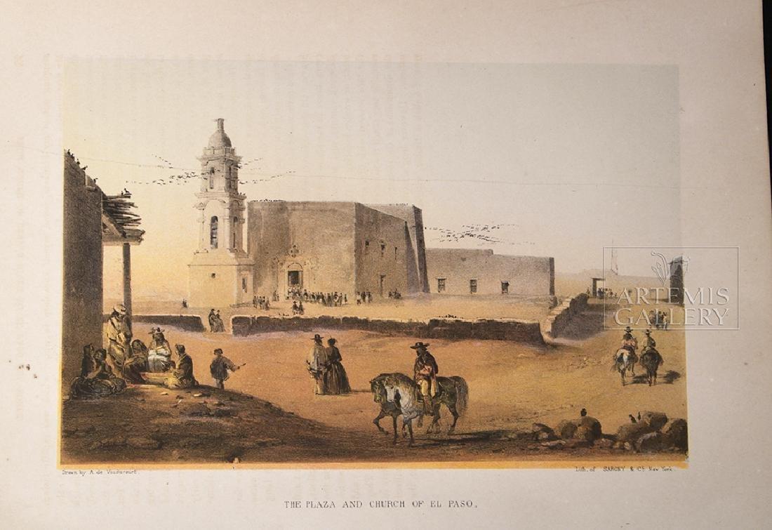 19th C. Color Lithograph - Plaza & Church In El Paso - 2