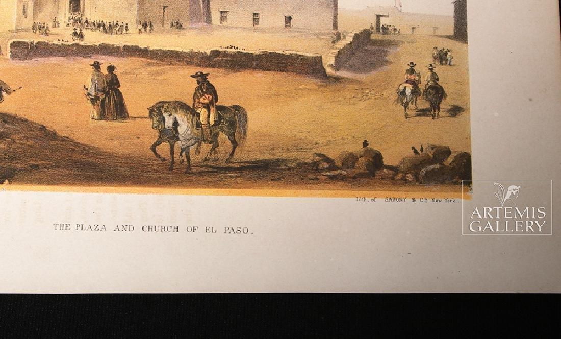 19th C. Color Lithograph - Plaza & Church In El Paso - 3