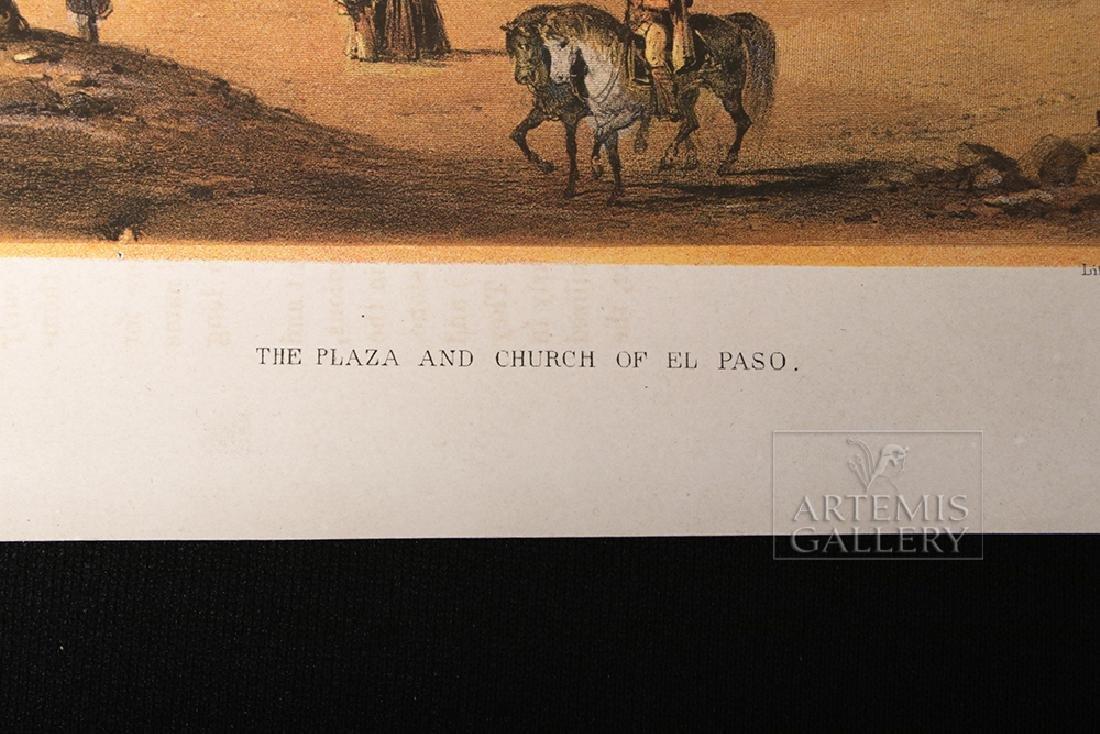 19th C. Color Lithograph - Plaza & Church In El Paso - 5