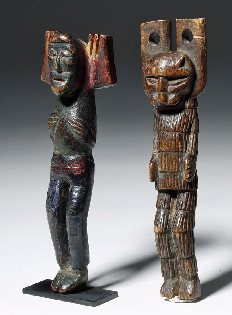 Early 20th C. Guatemalan Painted Wood Slingshots (2)