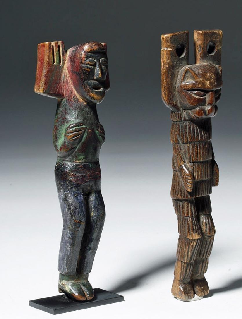 Early 20th C. Guatemalan Painted Wood Slingshots (2) - 4