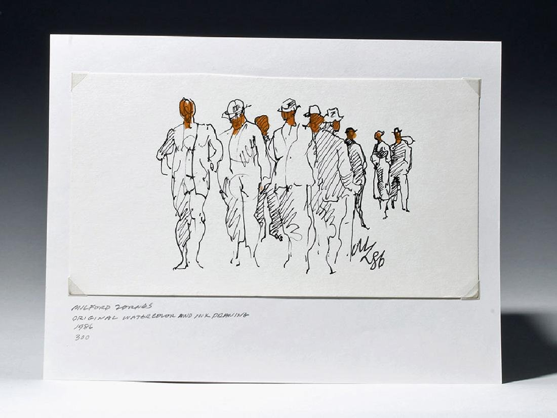 """Signed 1986 Watercolor / Ink """"Crowd"""" - Milford Zornes"""