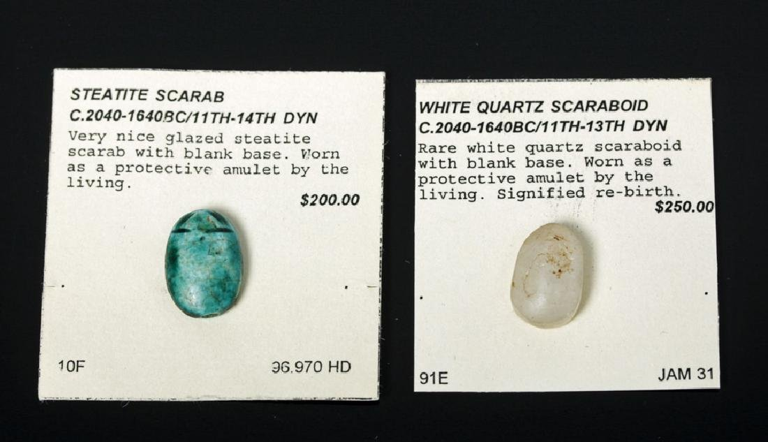 Pair Egyptian Scarabs / Steatite & Quartz,  ex-Mitry
