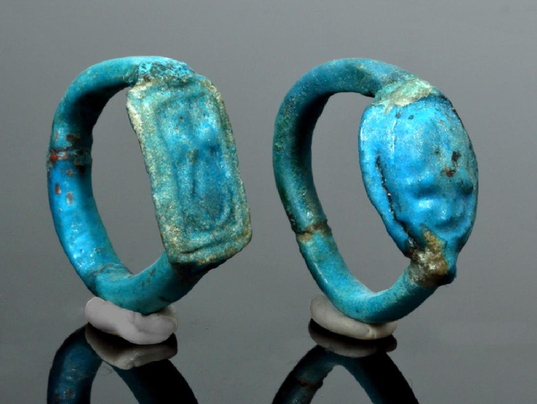 Two Egyptian Faience Rings - New Kingdom to Late Period