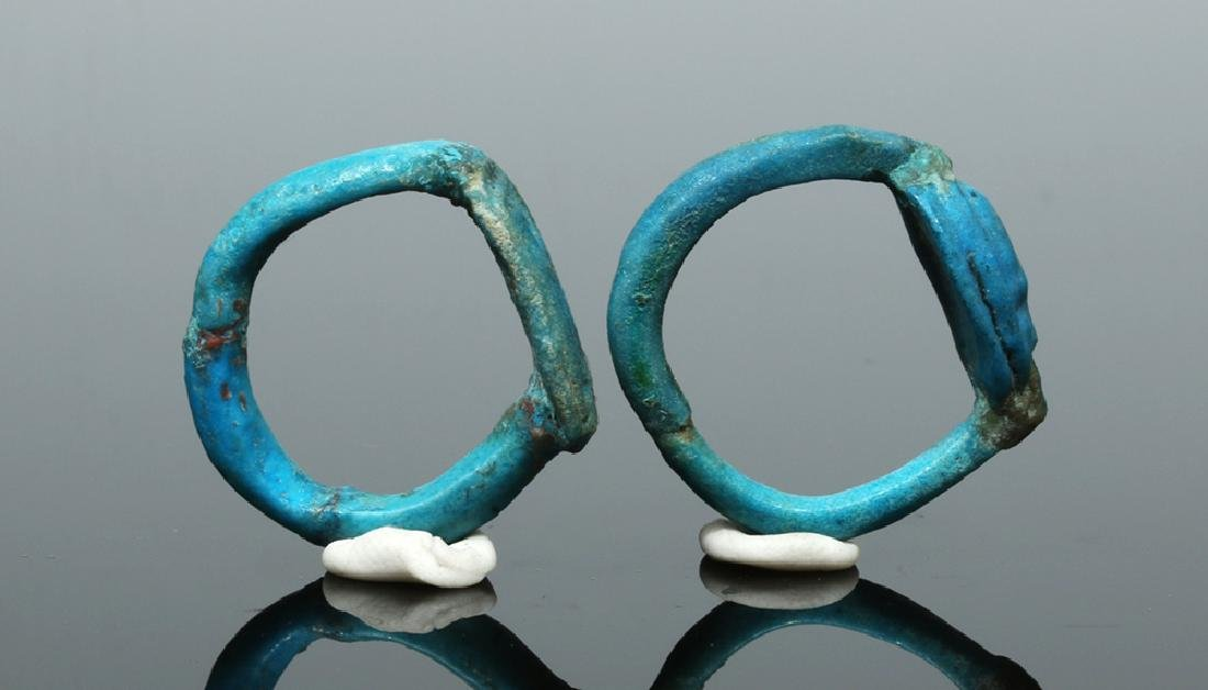 Two Egyptian Faience Rings - New Kingdom to Late Period - 2