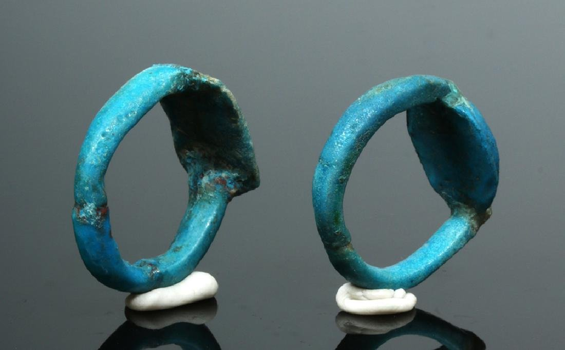 Two Egyptian Faience Rings - New Kingdom to Late Period - 3