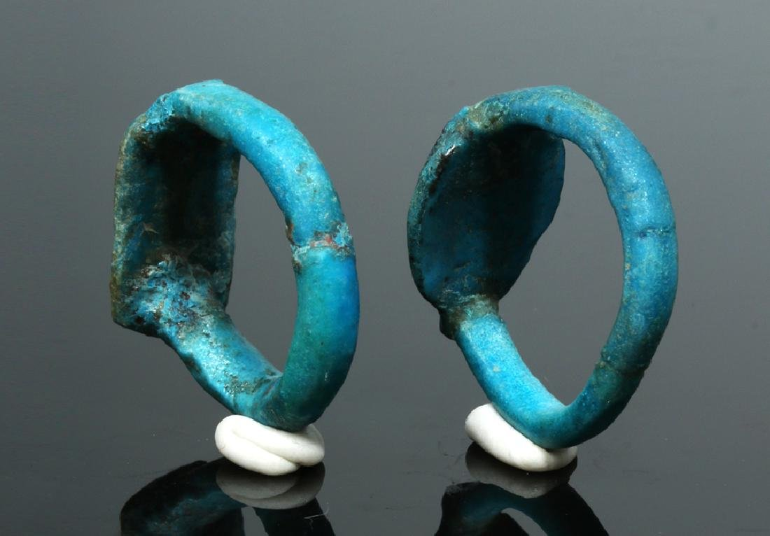 Two Egyptian Faience Rings - New Kingdom to Late Period - 4