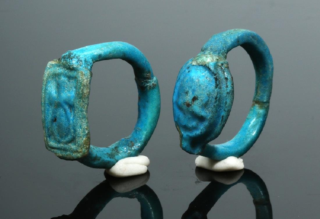 Two Egyptian Faience Rings - New Kingdom to Late Period - 5