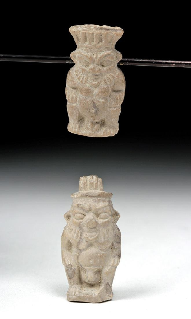 Lot of 2 Egyptian Steatite Amulets - Dwarf God Bes
