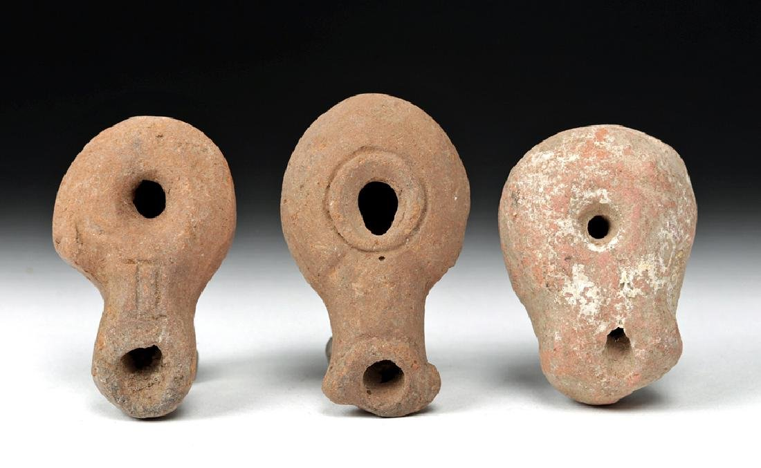 Trio of Roman Holy Land Pottery Miniature Oil Lamps