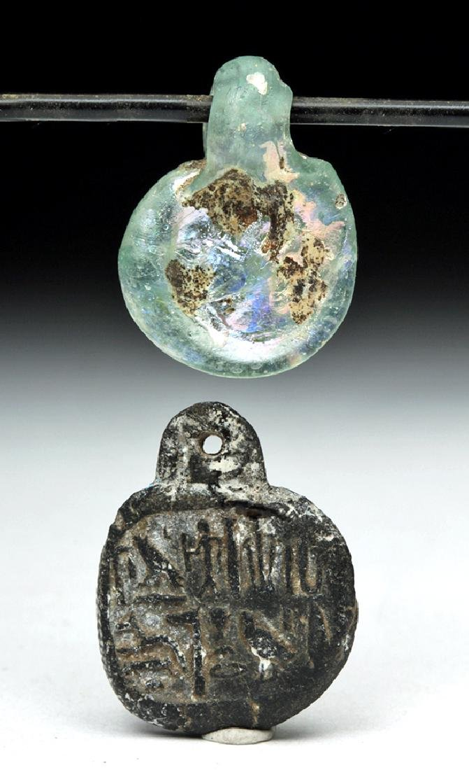 Pair of Roman Pendants - Glass & Faience