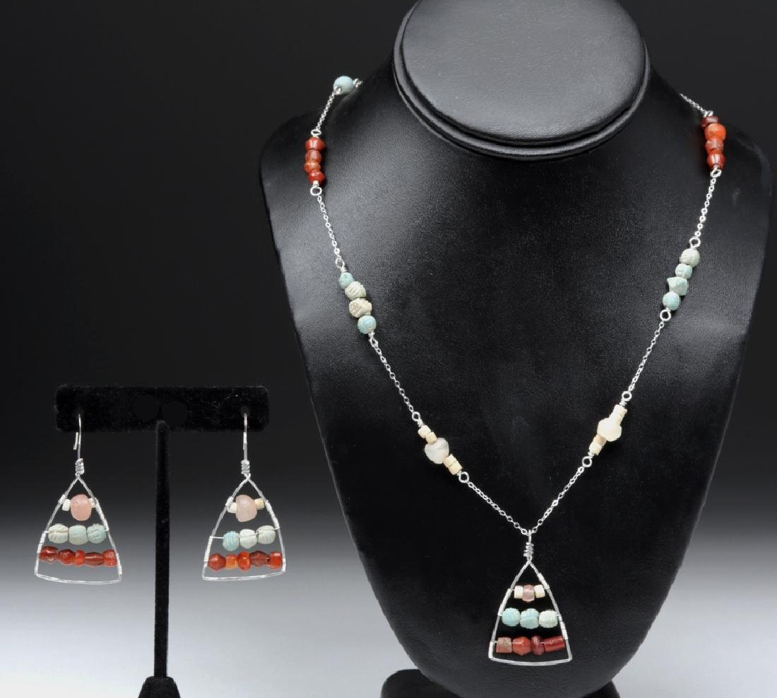 Sumerian Beads Hammered Triangle Necklace & Earrings