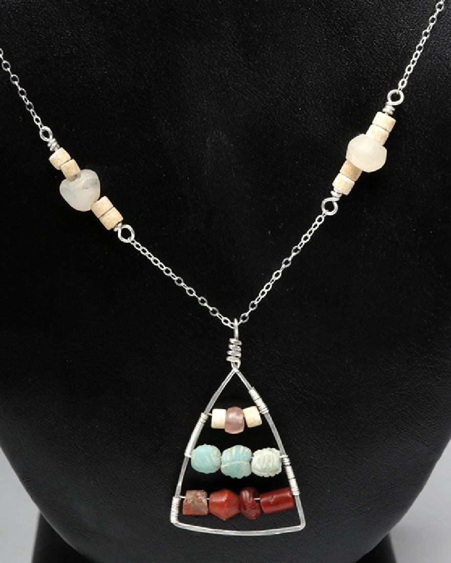 Sumerian Beads Hammered Triangle Necklace & Earrings - 2