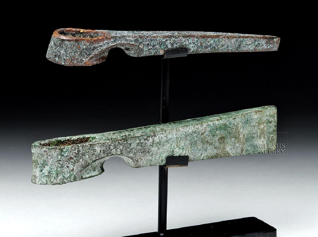 Lot of 2 Canaanite Bronze Axe Heads - 2