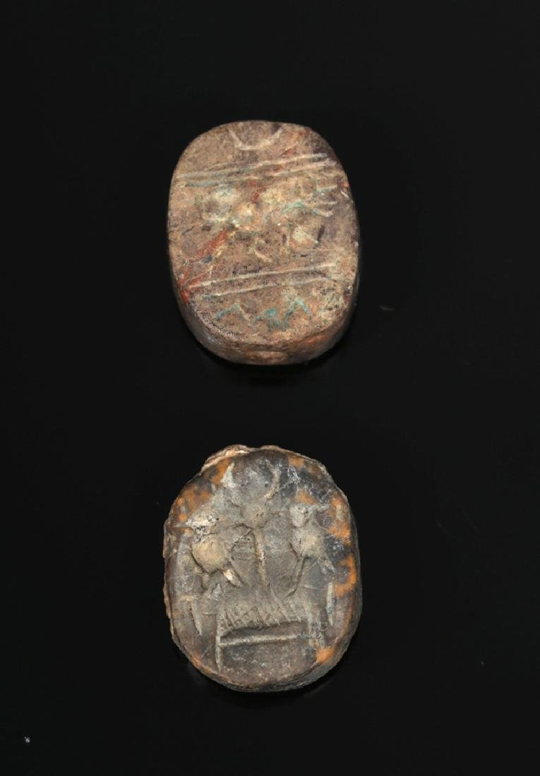 Pair of Near-Eastern Terracotta Scaraboid Seals - 2