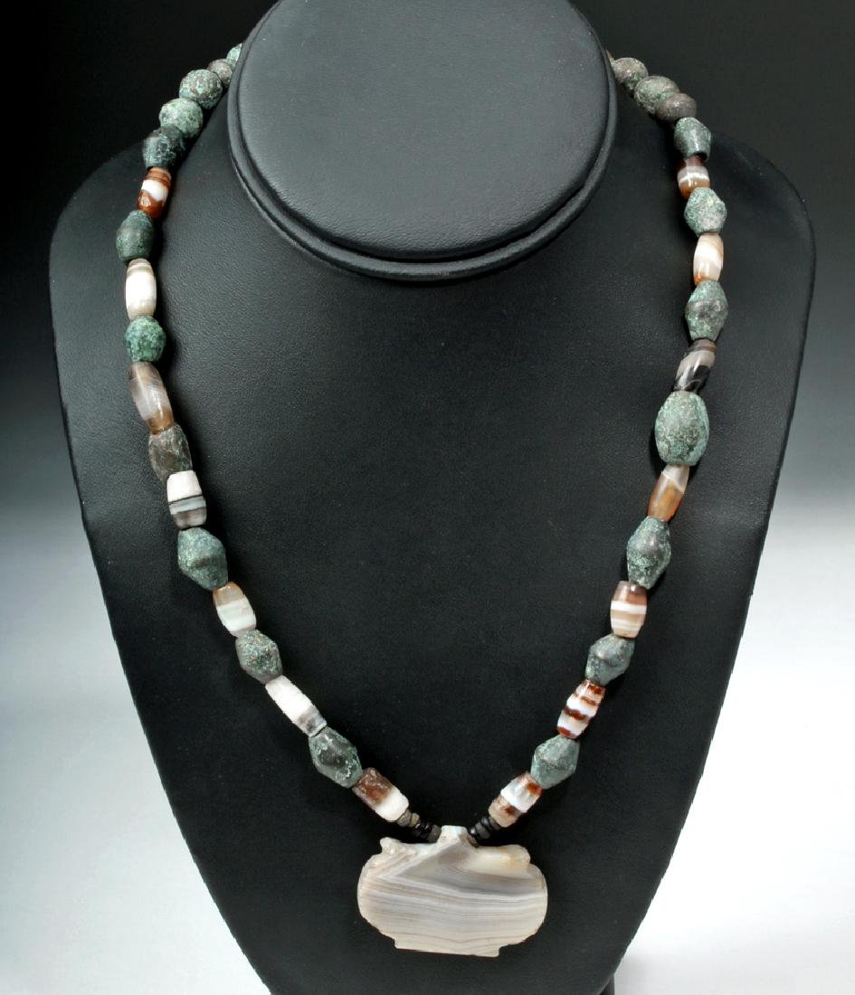 Ancient Bactrian Agate / Bronze Beaded Necklace