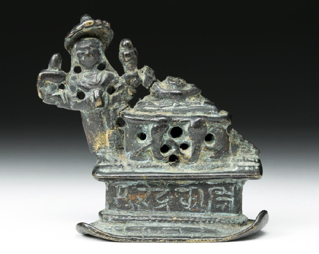 19th C. Indian Bronze Fragment - Buddha on Throne