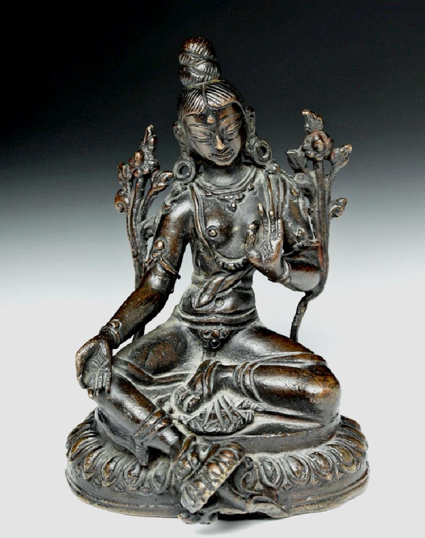 Sino Tibetan Bronze Seated Goddess - Tara