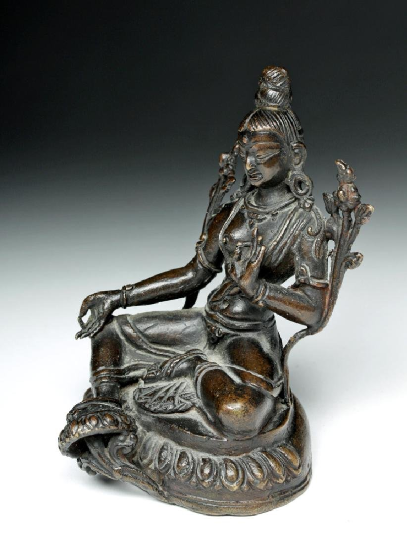 Sino Tibetan Bronze Seated Goddess - Tara - 2