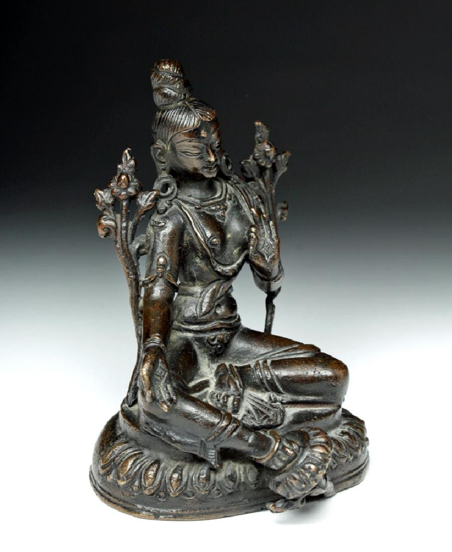 Sino Tibetan Bronze Seated Goddess - Tara - 5