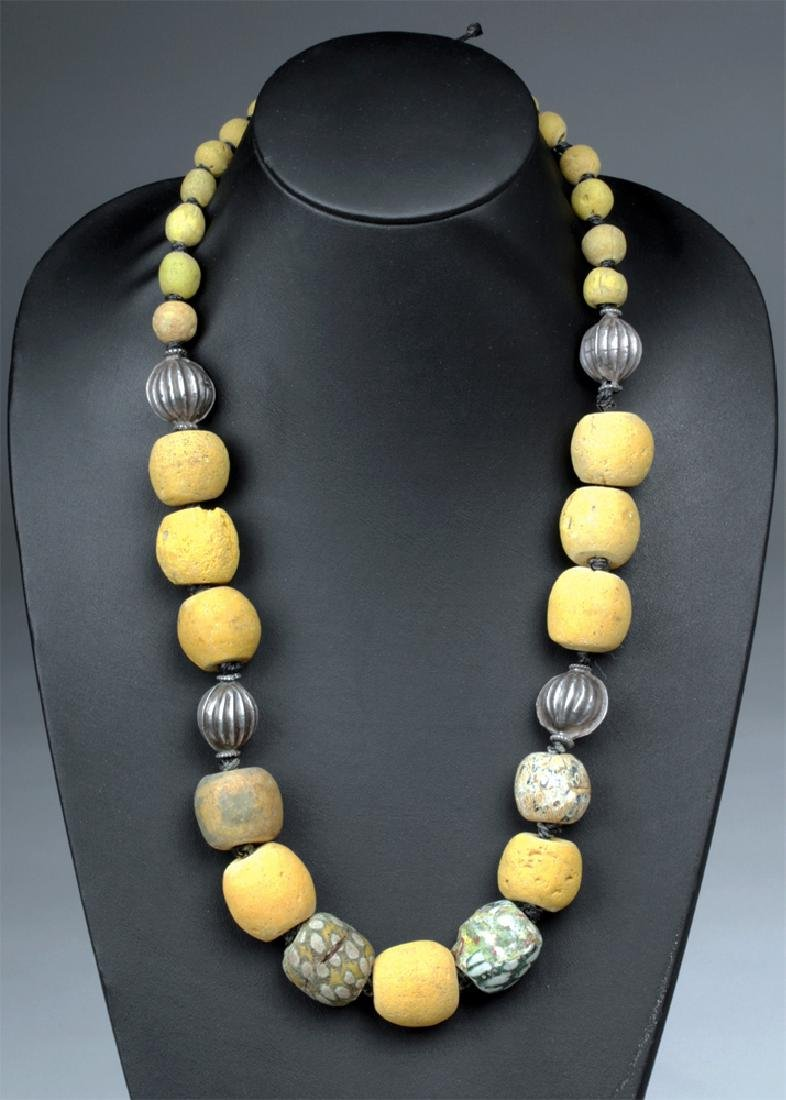11th C. Majapahit Glass / Silver Bead Necklace
