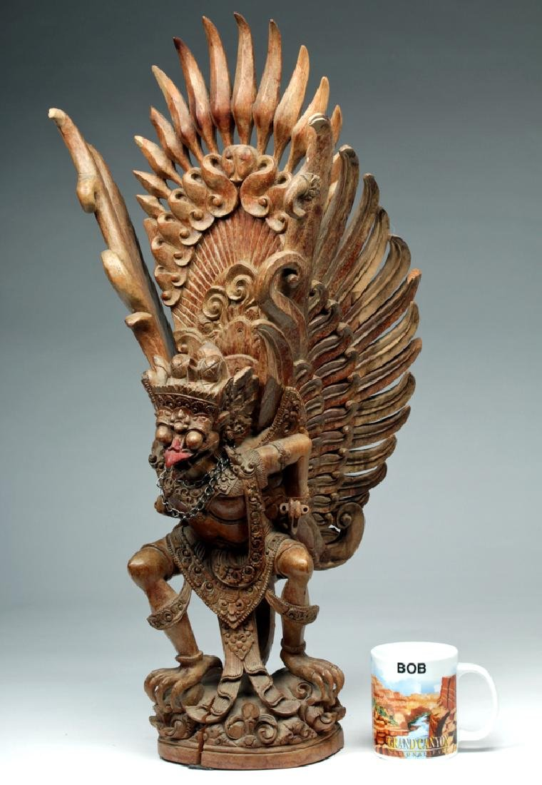 Fabulous 20th C. Indonesian Carved Wooden Garuda