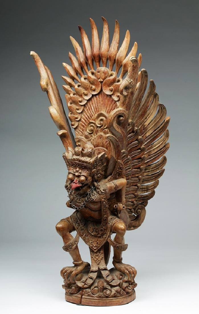 Fabulous 20th C. Indonesian Carved Wooden Garuda - 2