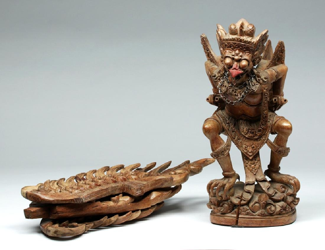 Fabulous 20th C. Indonesian Carved Wooden Garuda - 8