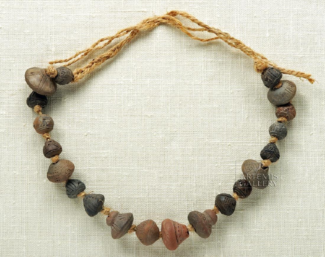 Ancient Ecuadoran Spindle Whorl Beaded Necklace