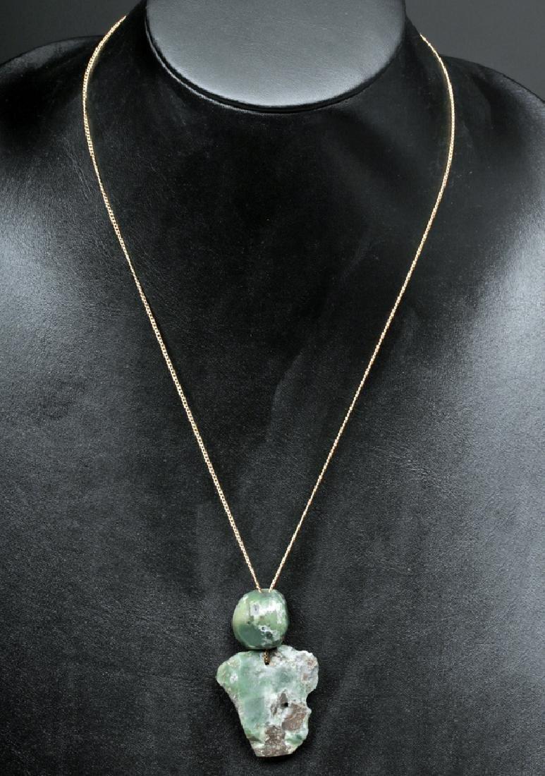 Pair of Mayan Jade Beads w/ Gold Chain