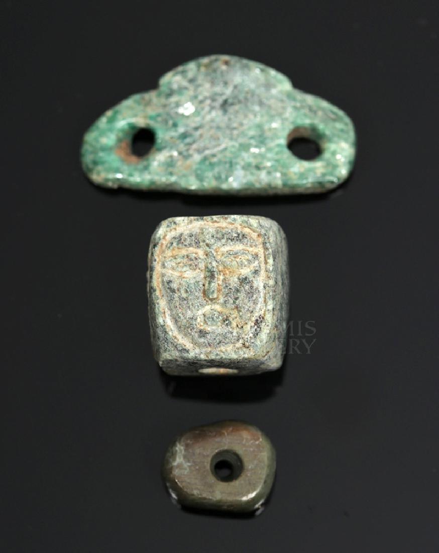 Trio of Aztec Stone Beads