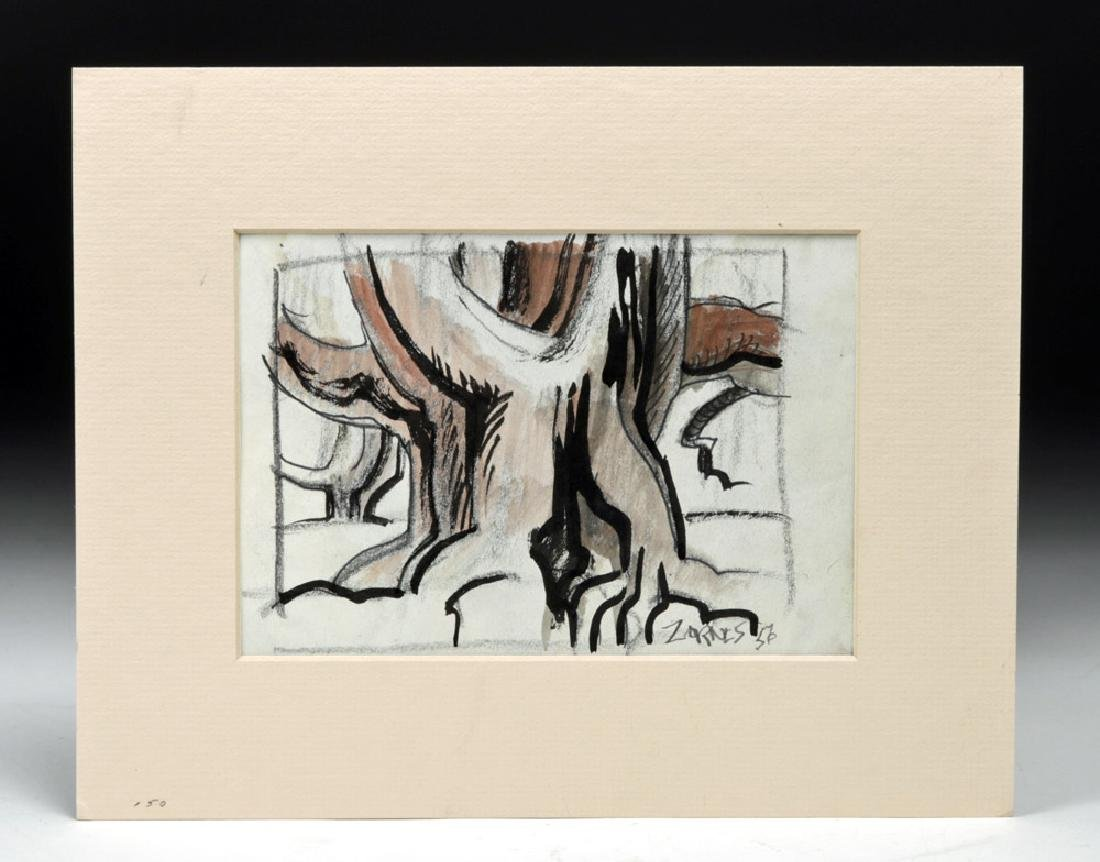 Mid 20th C. Zornes 'Olive Trees' Watercolor & Ink