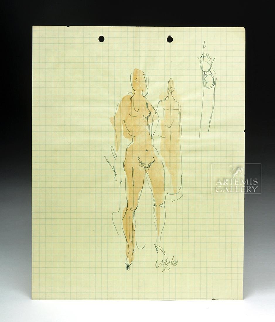 Milford Zornes Figure Studies' Watercolor / Ink Drawing