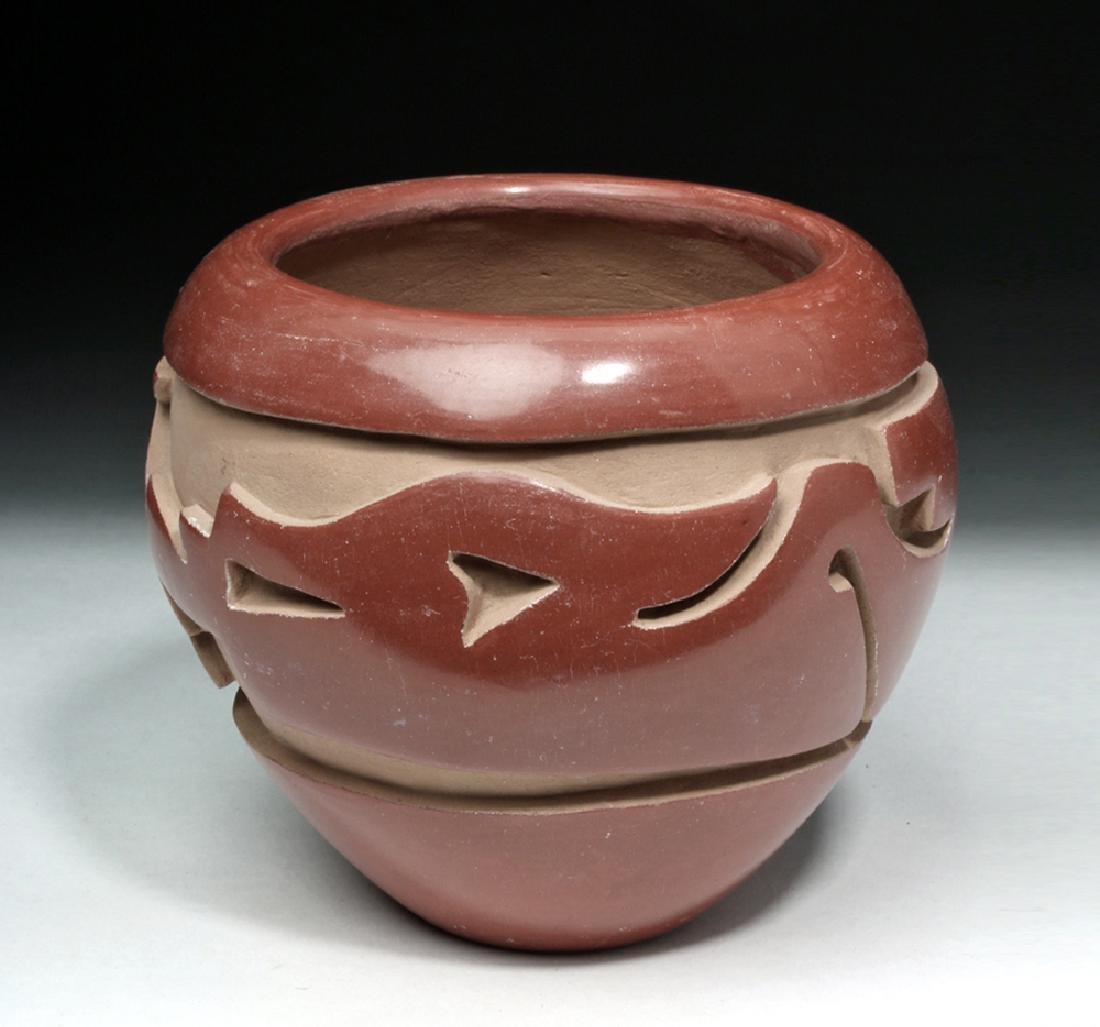 Santa Clara Redware Pottery Jar w/ Avanyu - Mida Tafoya
