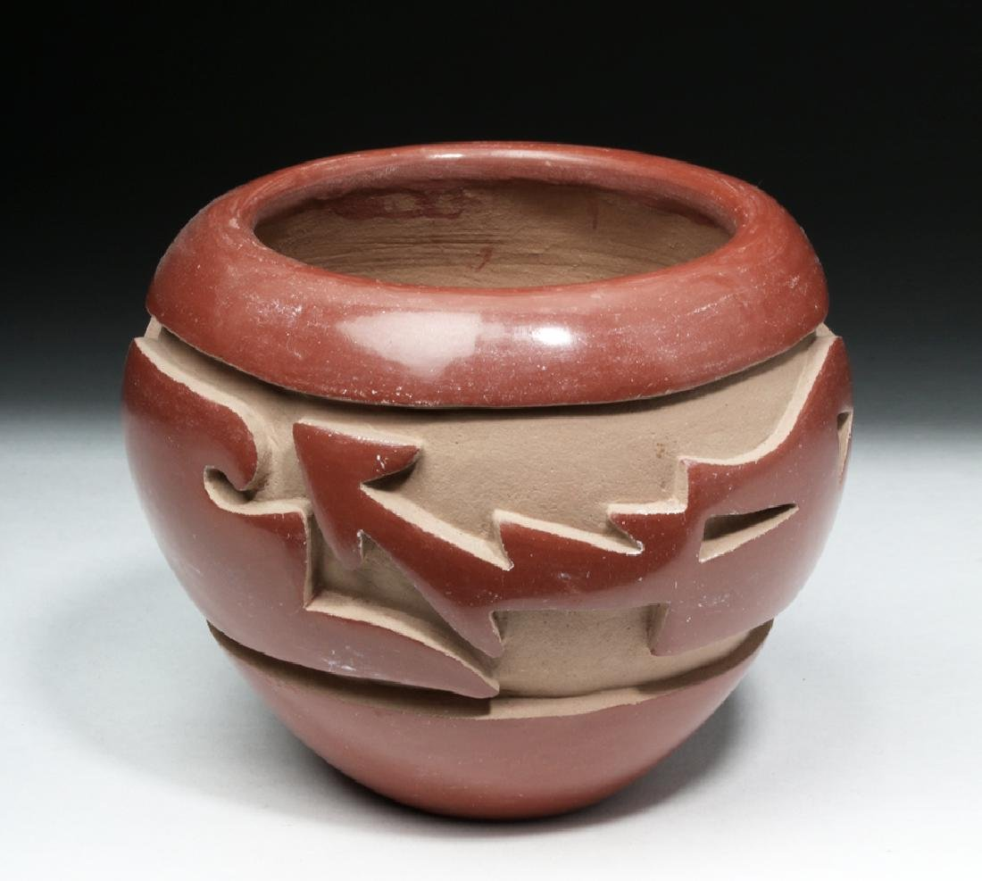 Santa Clara Redware Pottery Jar w/ Avanyu - Mida Tafoya - 2