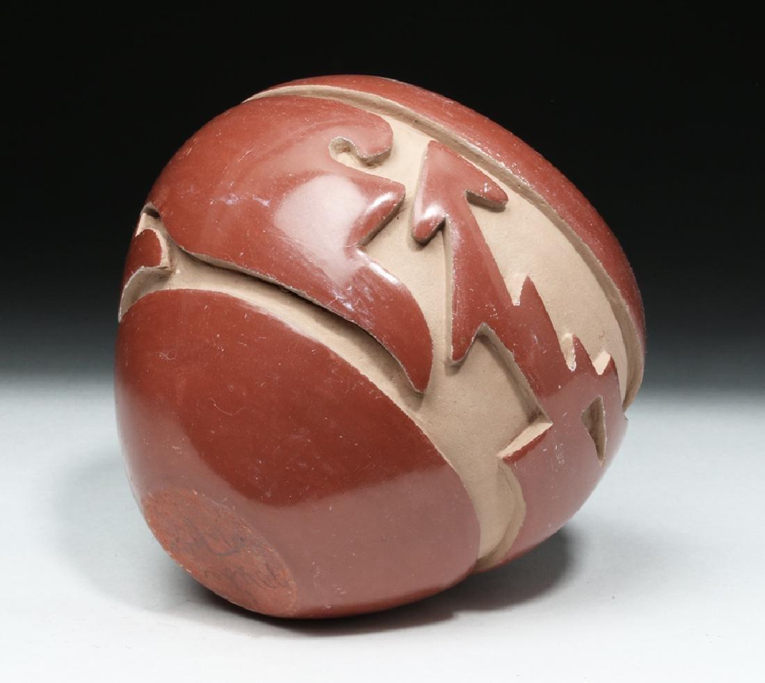 Santa Clara Redware Pottery Jar w/ Avanyu - Mida Tafoya - 6