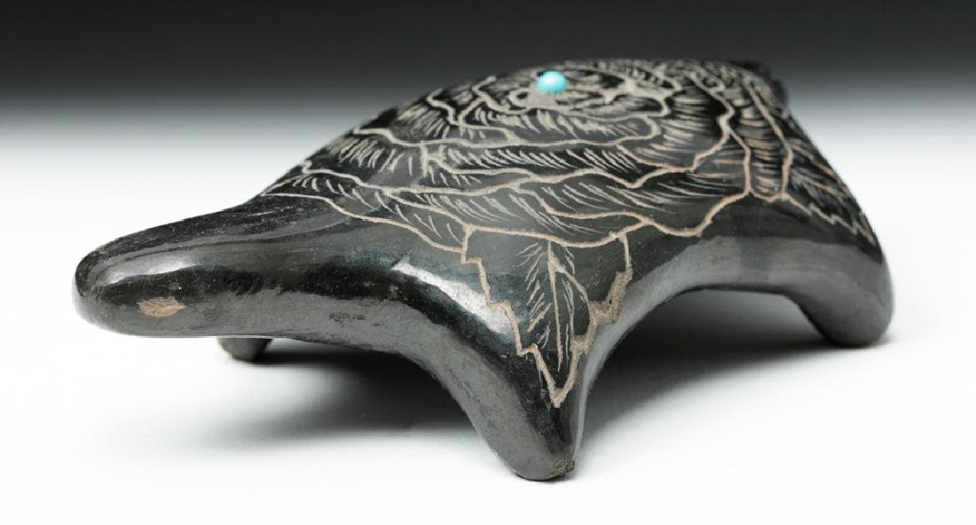 20th C. Santa Clara Blackware & Turquoise Turtle