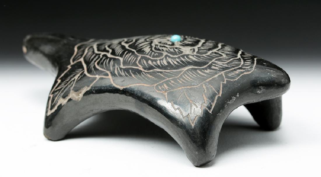 20th C. Santa Clara Blackware & Turquoise Turtle - 2