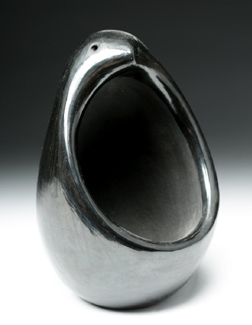 20th C. Santa Clara Signed Blackware Figural Jar - 2