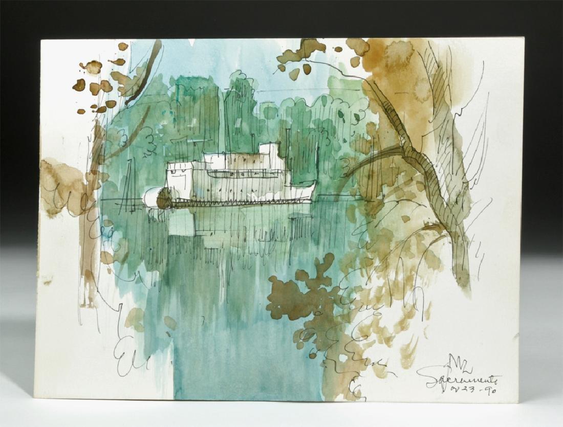 """Signed Zornes 1990 Watercolor - """"Sacramento River Boat"""""""