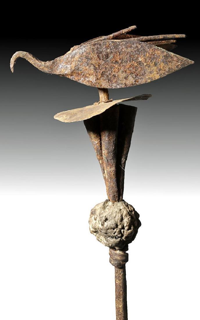 Early 20th C. Tall African Yoruba Iron Ceremonial Staff