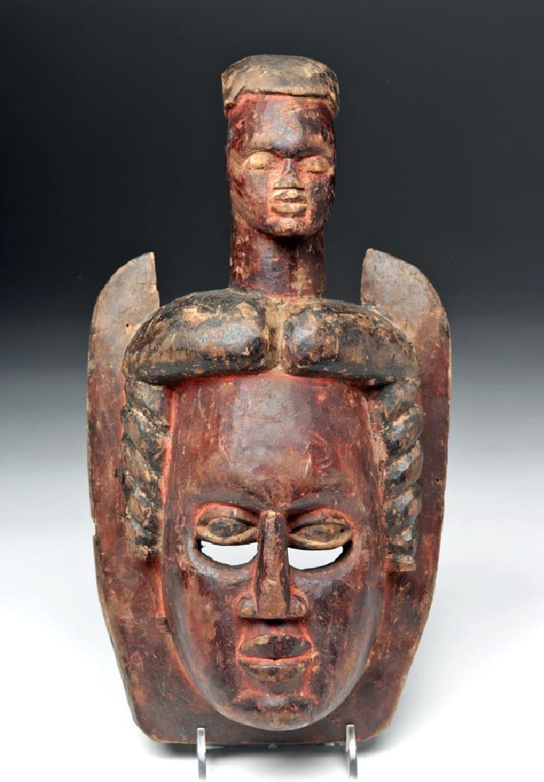 Early 20th C. African Ibibio Wood Mask w/ Head Element