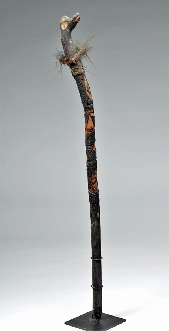 Early 20th C. Papua New Guinea Wooden Ceremonial Staff