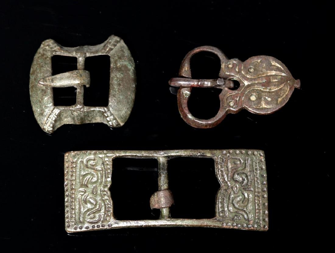 Trio of Fine Viking and / or Medieval Bronze Buckles