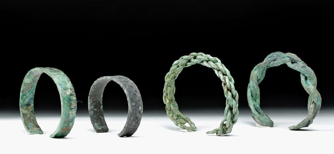 Lot of 4 Viking Bronze Bracelets - Solid and Braided