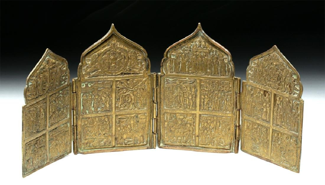 Fine Russian 19th C. Brass 4-Panel Traveling Icon