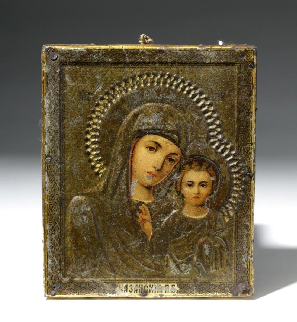 19th C. Russian Icon of Theotokos as Virgin Hodegetria