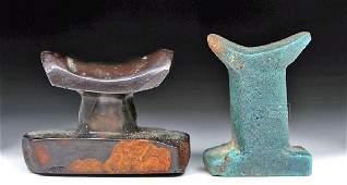 Lot of 2 Miniature Egyptian Headrest Pendants