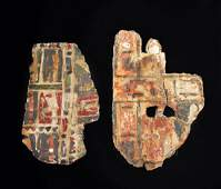 Pair of Egyptian Linen  Gesso Sarcophagus Fragments