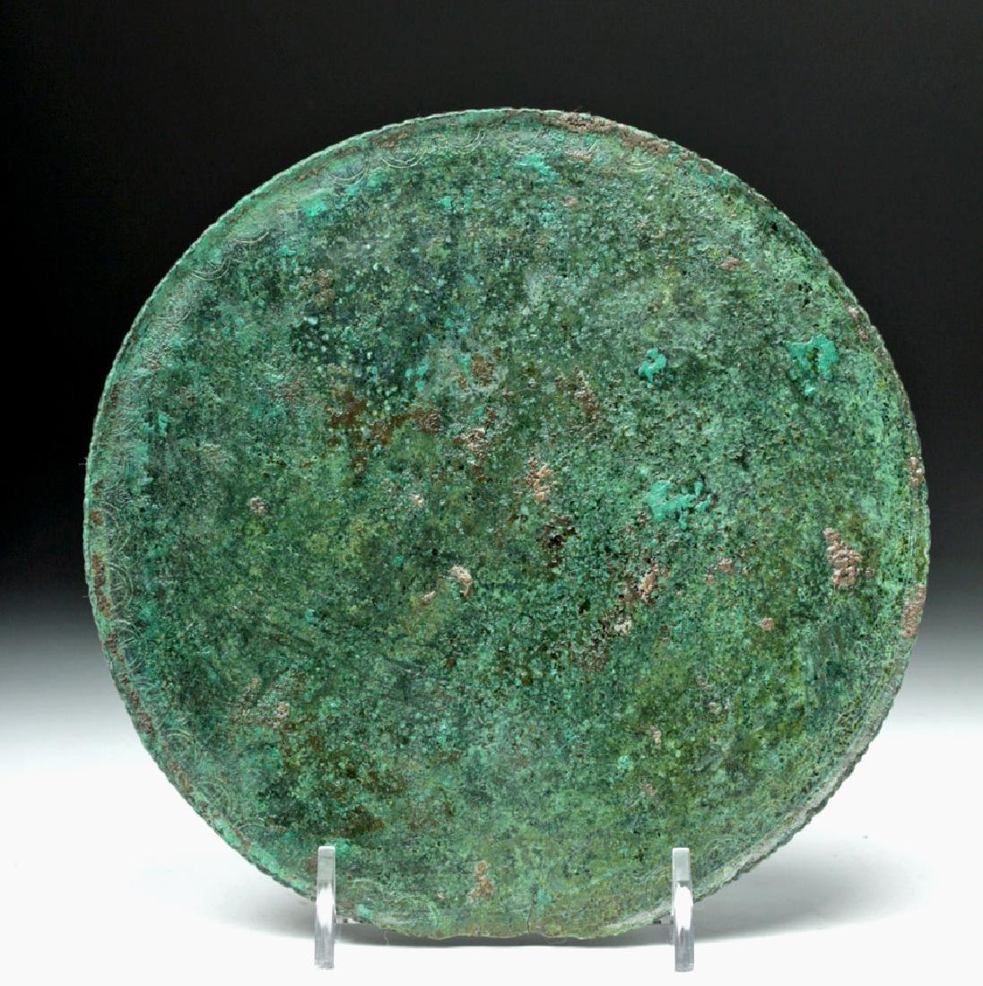 Greek Decorated Bronze Mirror